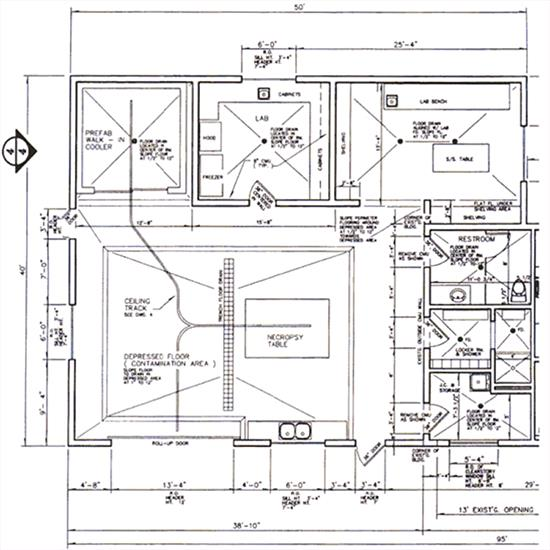 Figure 1.White Oak Conservation Center necropsy facility floor plan.